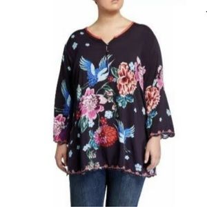 Johnny Was Zahra Printed Embrodered Blouse XXL NWT